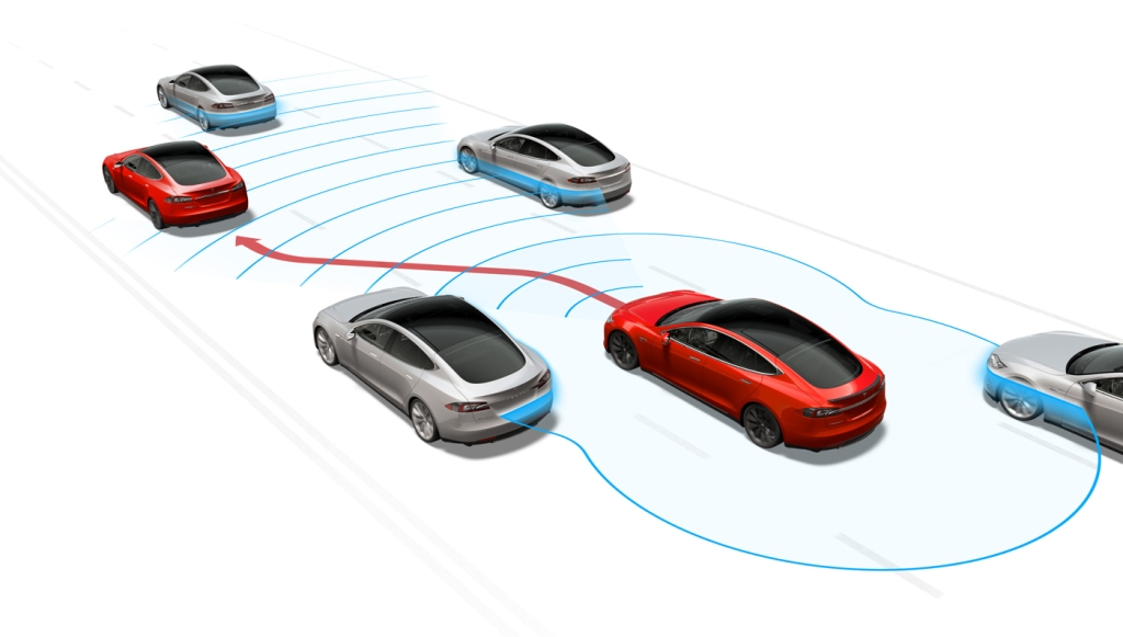 A rendering for the Tesla Model S Level 2 Autopilot system.