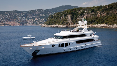 Bina, the 142-foot four-decker yacht built by Italy's Mondomarine