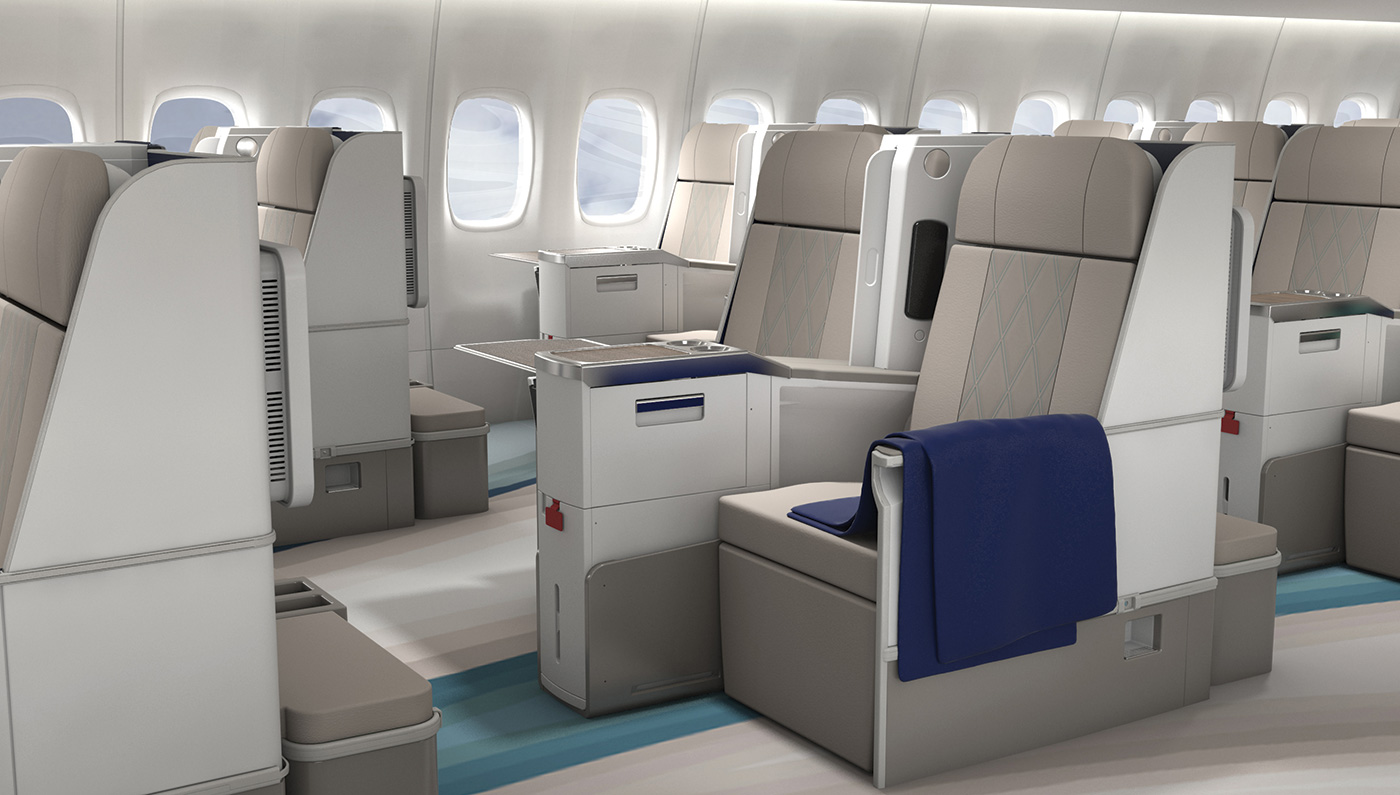 Boeing 777 with interiors created by Greenpoint Technologies