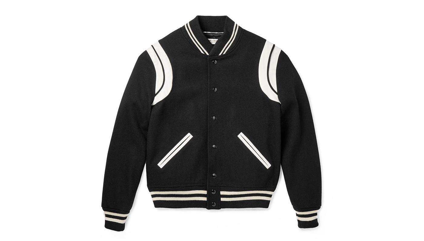 Saint Laurent Leather-Trimmed Wool Varsity Jacket