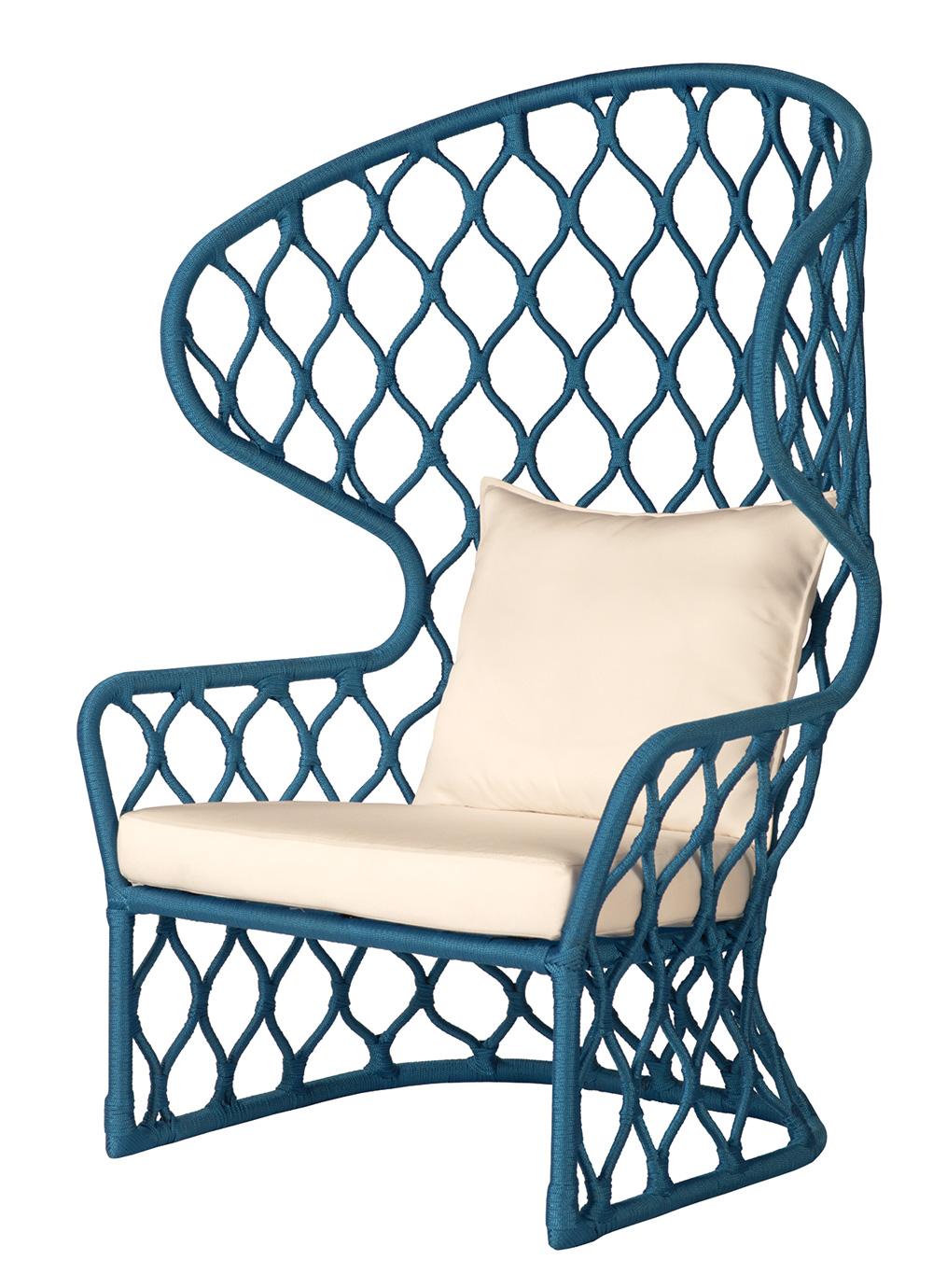 Painho Club Lounge chair in a rich cerulean