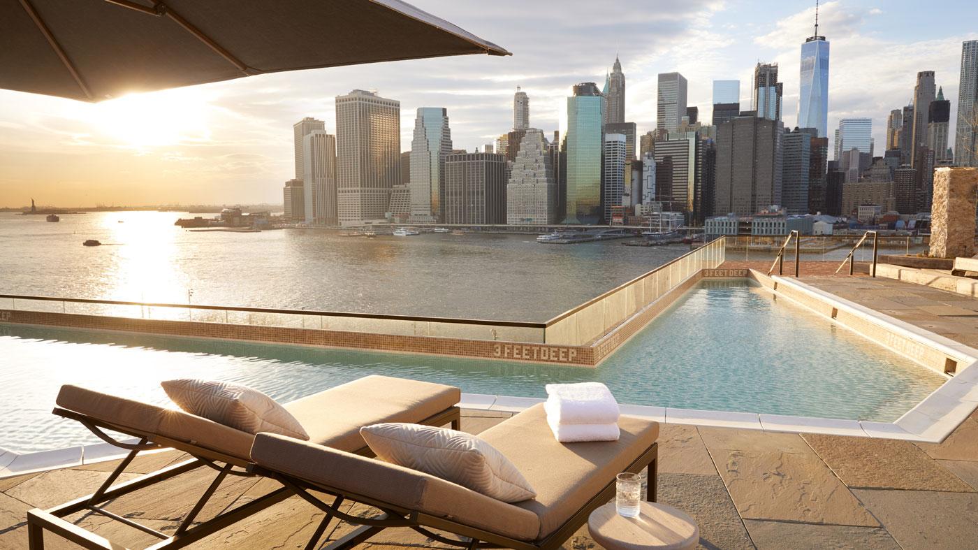 Swimming pool and Manhattan skyline