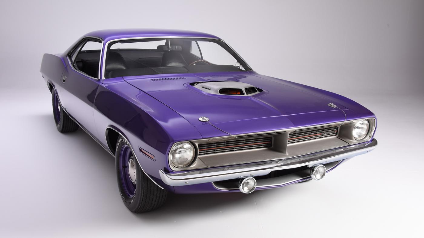 """A 1970 Plymouth Hemi 'Cuda in """"Plum Crazy"""" purple."""