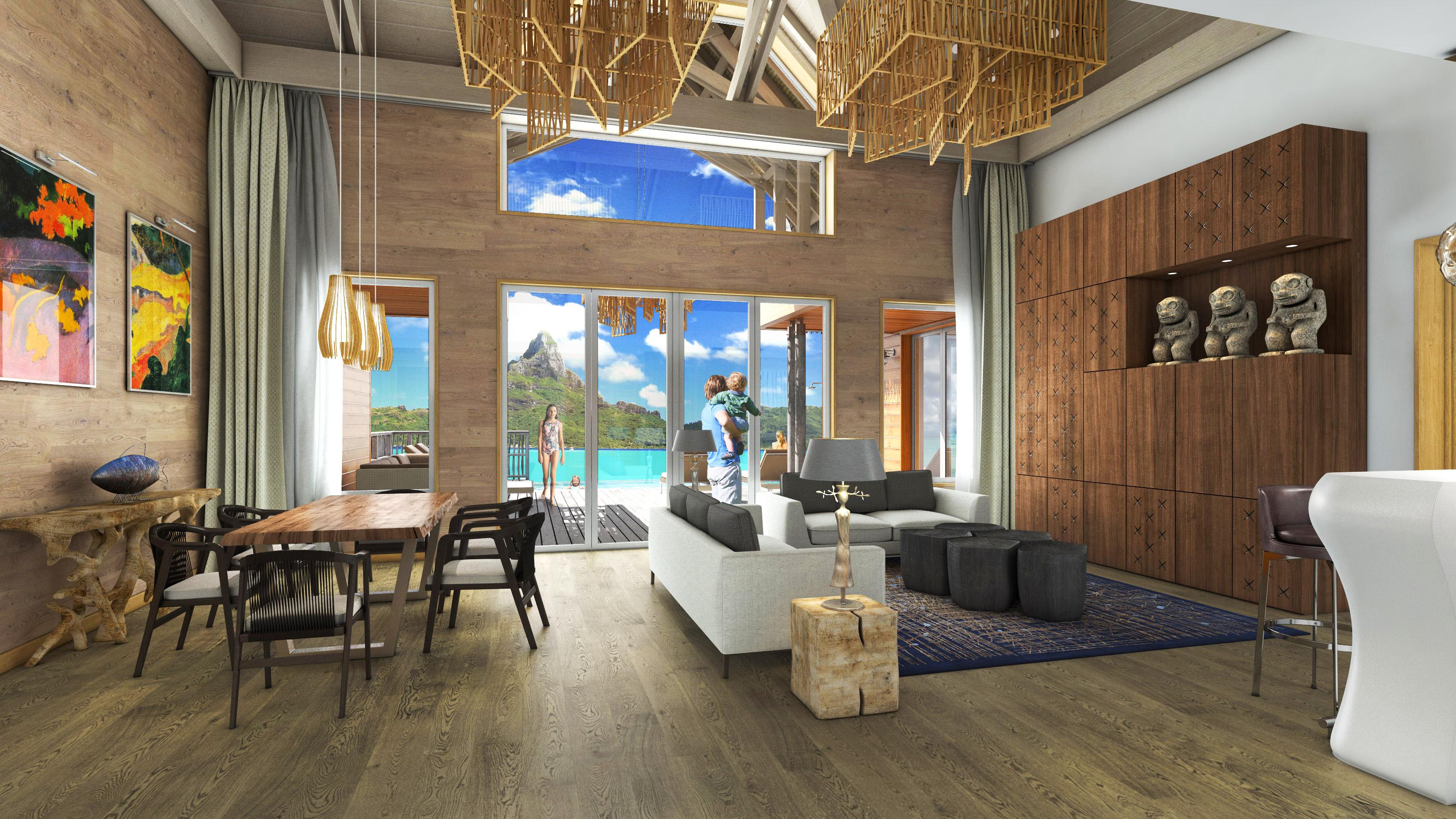 Brando Suites Bora Bora interior of living space