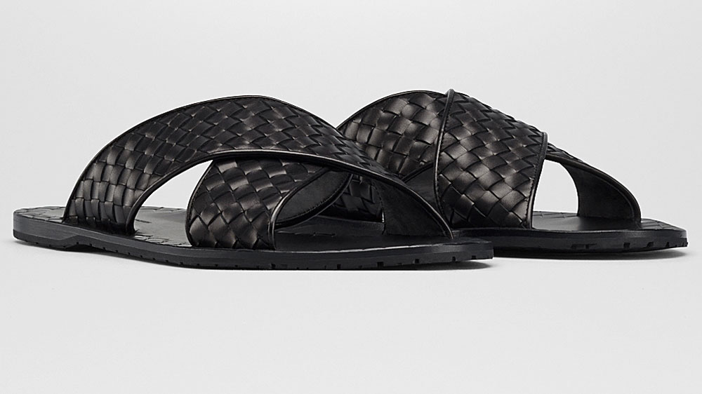 Bottega Veneta Nero Intrecciato Calf Esher Sandals.