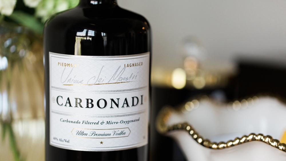 Carbonadi vodka closeup of bottle