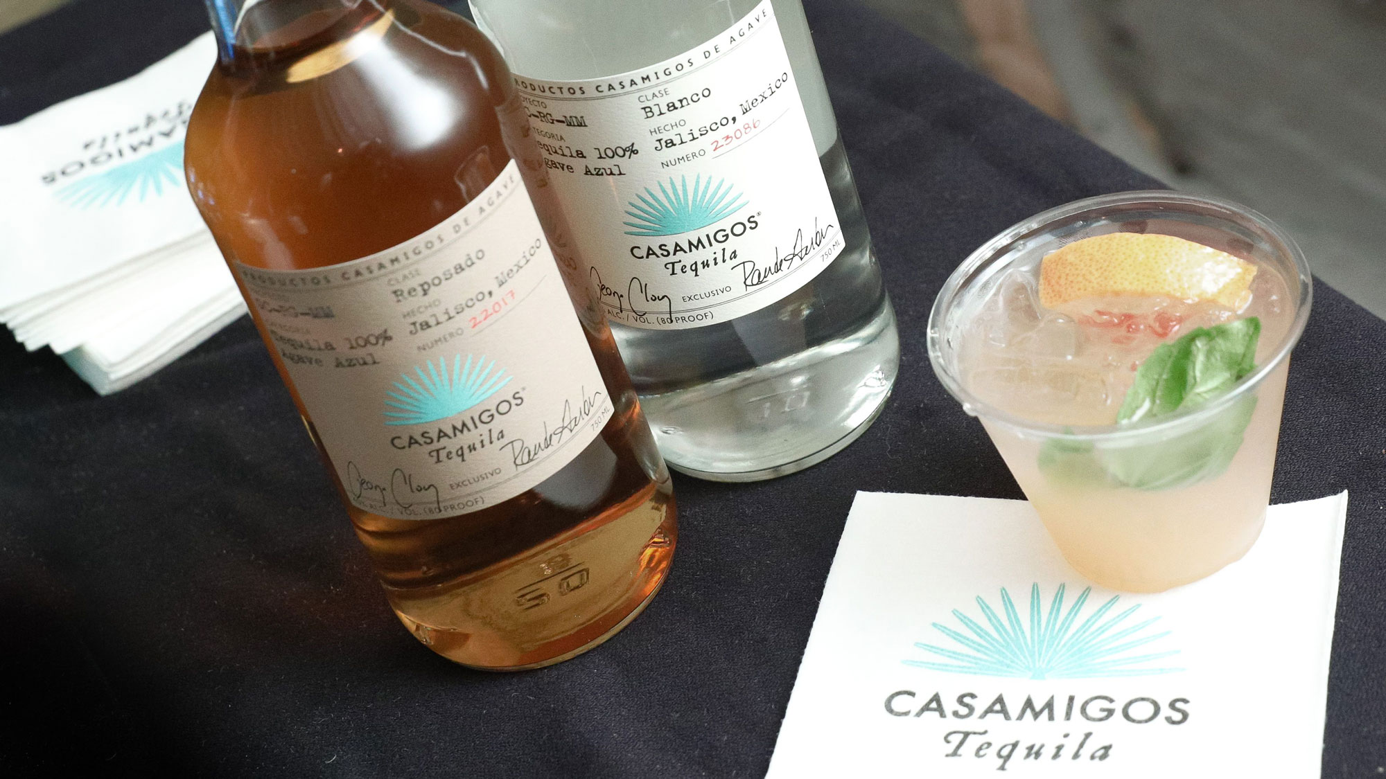 Casamigos tequila bottles and cocktail