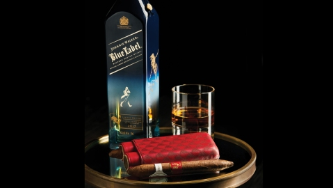 Davidoff Year of the Rooster & Johnnie Walker Year of the Rooster Blue Label bottles