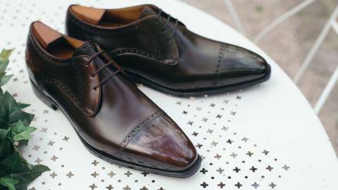 Corthay's signature Ike derby shoes in brown