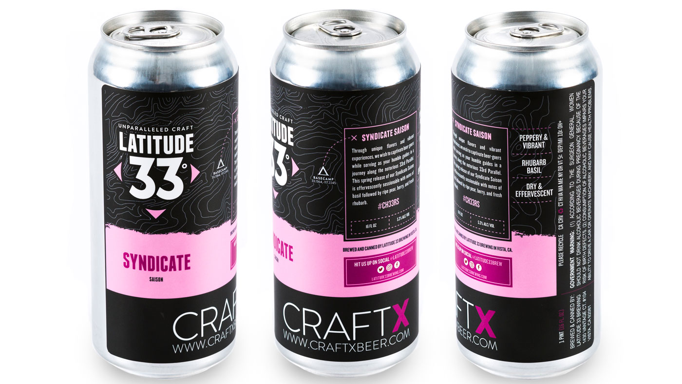 Cans of CraftX Latitude 33 Syndicate