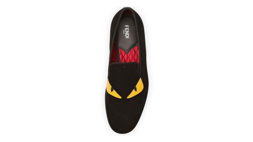 Fendi suede Monster Eyes men's slipper shoes