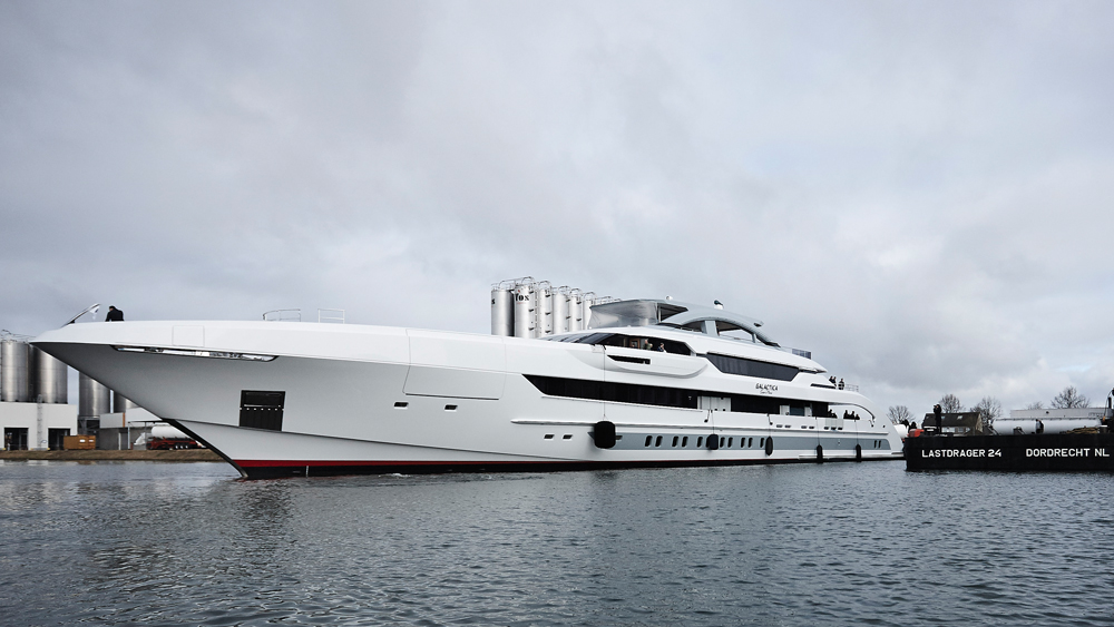 Galactica Super Nova yacht hitting the water for the first time as a finished boat