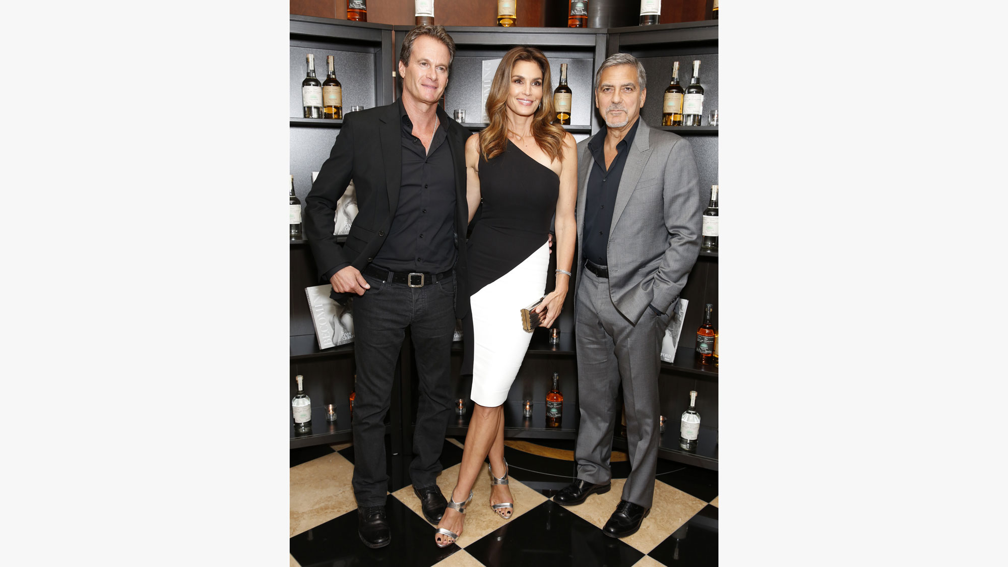 from left: Rande Gerber, Cindy Crawford, and George Clooney