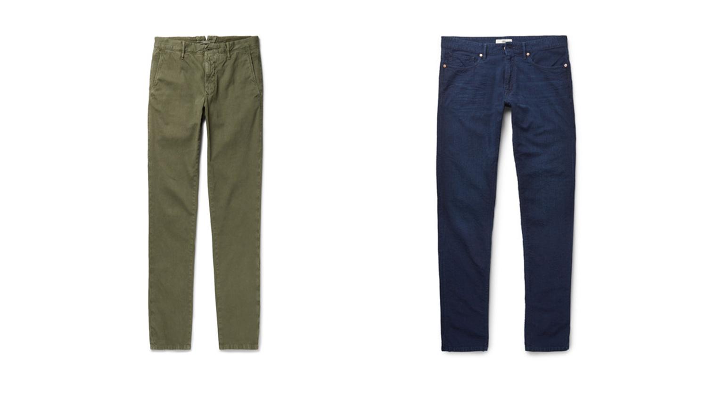 Incotex chino pants in green and navy