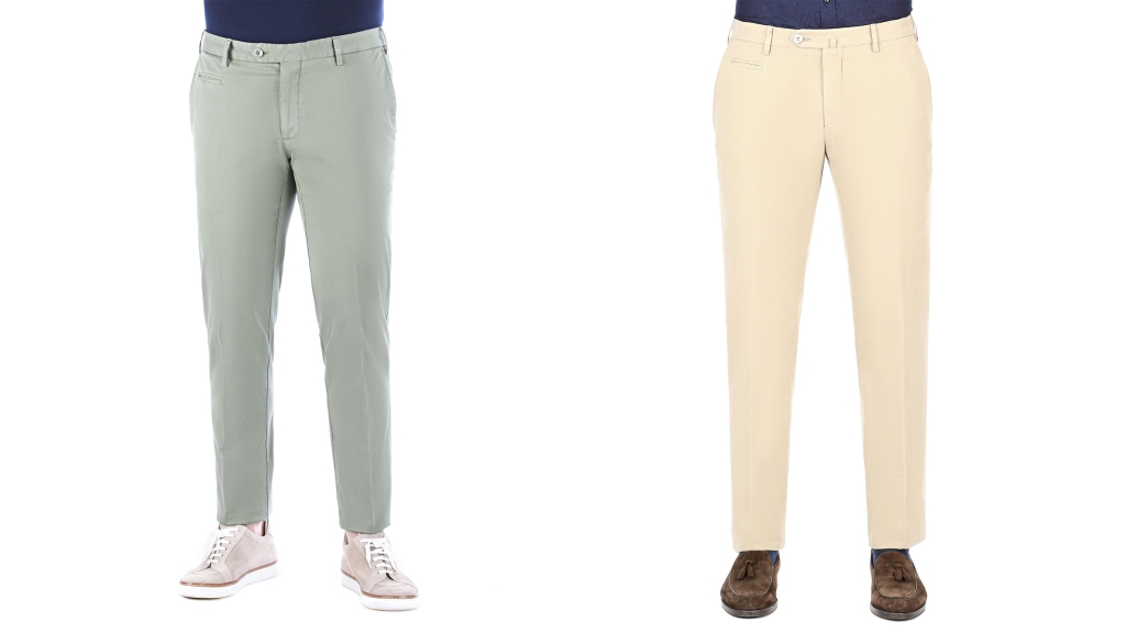 ISAIA chino pants green and cream colored