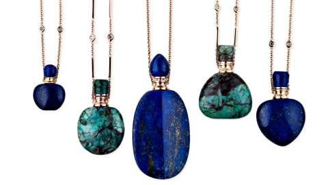 Blue and green bottles on a necklace