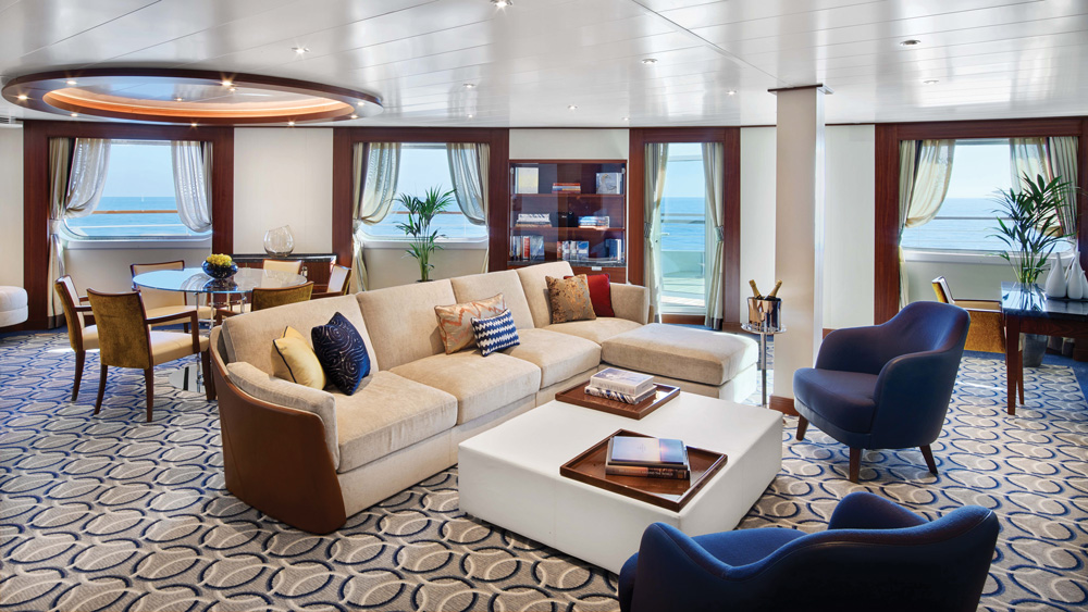 Seabourn Encore living room inside one of the cruise's rooms