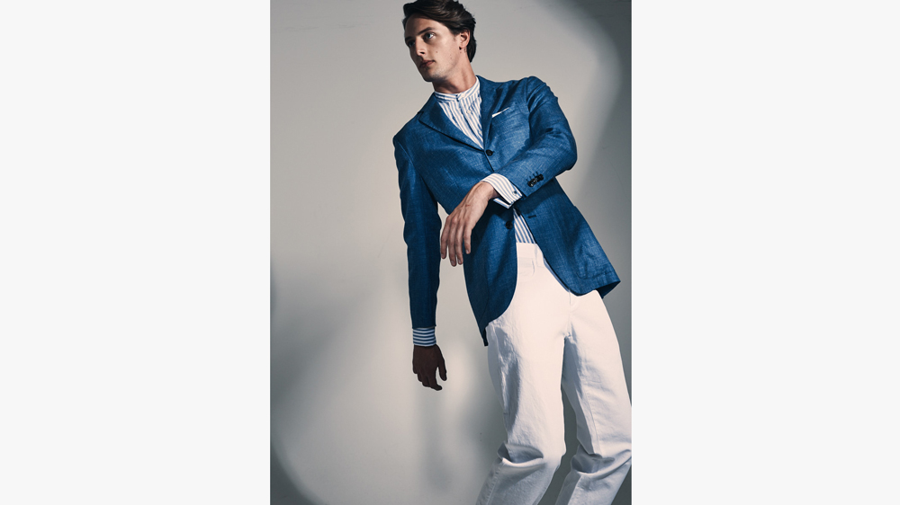 Kiton combines cashmere, silk, and linen in polished jacket style.