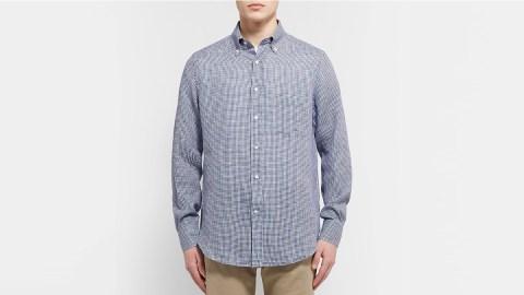 Loro Piana Button-Down Collar Micro-Checked Linen Shirt