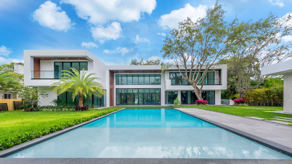 pool view of a Miami modern home