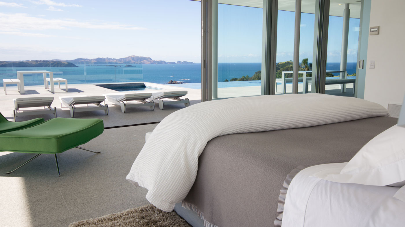 Bedroom with views of the Bay of Islands in New Zealand