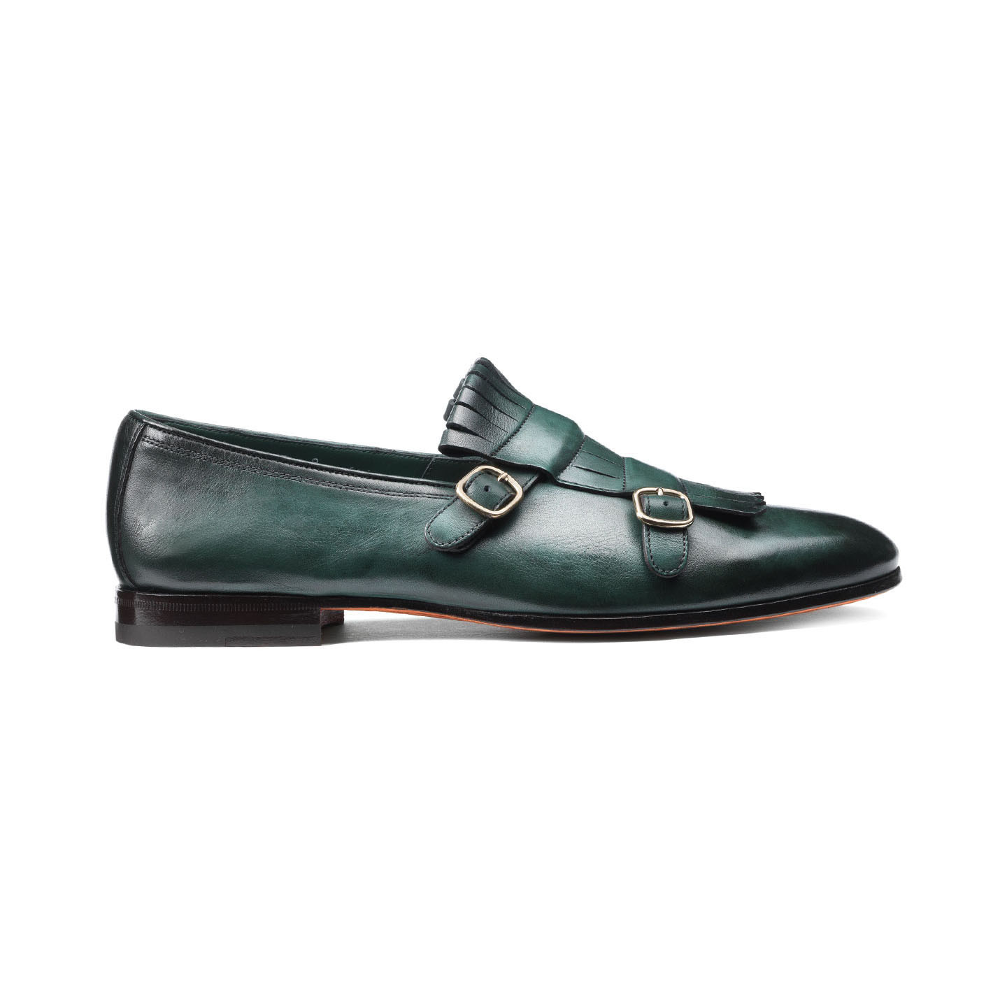 Santoni's double-buckle leather shoe in forest-green