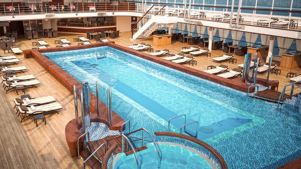 Silversea's Silver Muse Luxury Cruise Ship pool deck