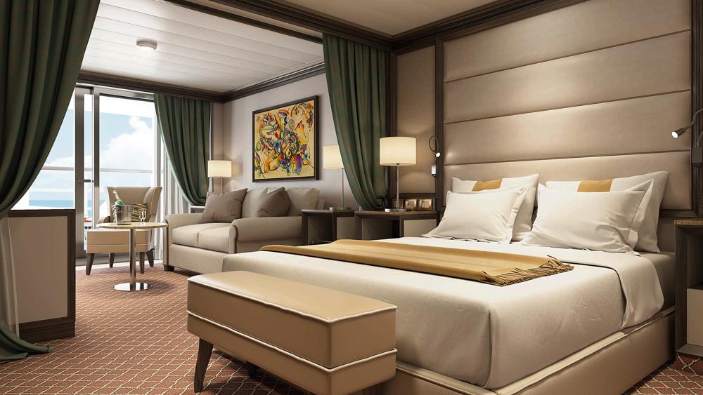 Silversea's Silver Muse Luxury Cruise Ship veranda suite interior