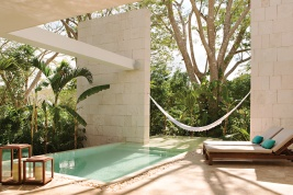The jungle brings peace and privacy to Chablé's 40 villas, each of which has its own pool
