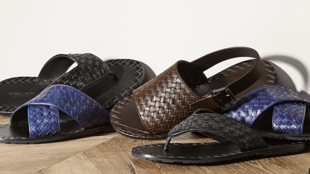 A group of brown and blue sandals