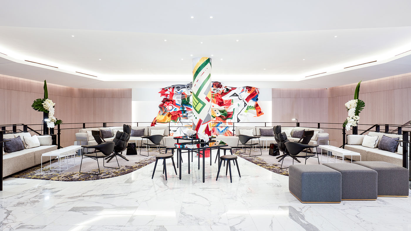 Colorful artwork in the hotel lobby