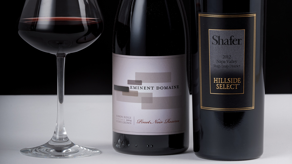Eminent Domaine 2014 Reserve Pinot Noir Ribbon Ridge & Shafer 2012 Cabernet Sauvignon Hillside Select Stags Leap