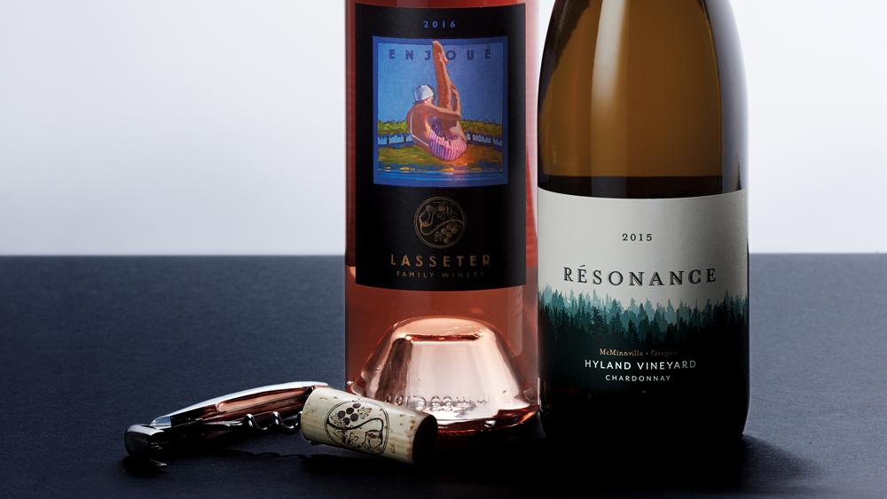 Résonance 2015 Chardonnay Hyland Vineyard McMinnville & Lasseter Family 2015 Rosé Enjoué Sonoma Valley