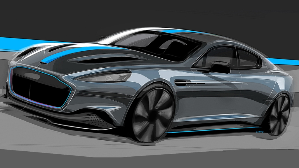 An artist's rendering of the Aston Martin RapidE.