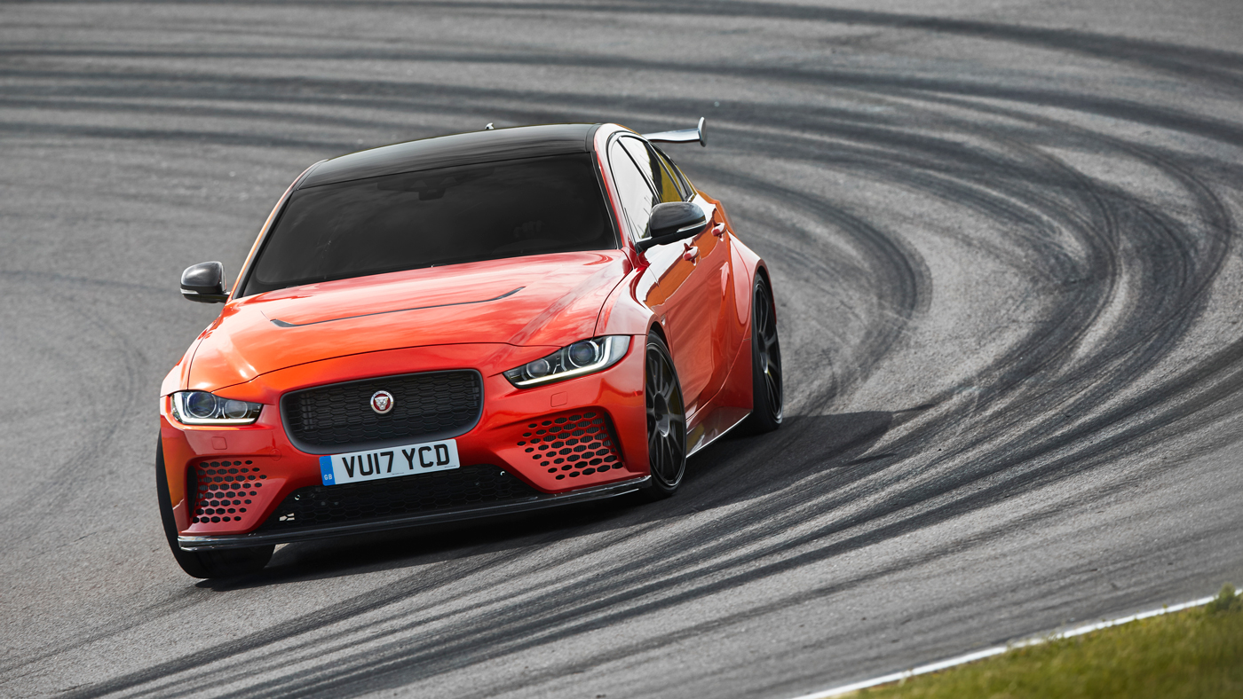 An image of a Jaguar XE SV Project 8 on a track.