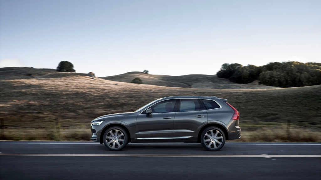 A photo of the Volvo XC60 cruising the countryside.