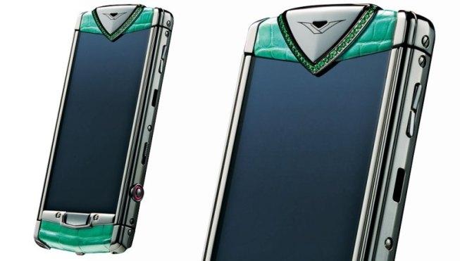 Vertu Ti with closeup of gems