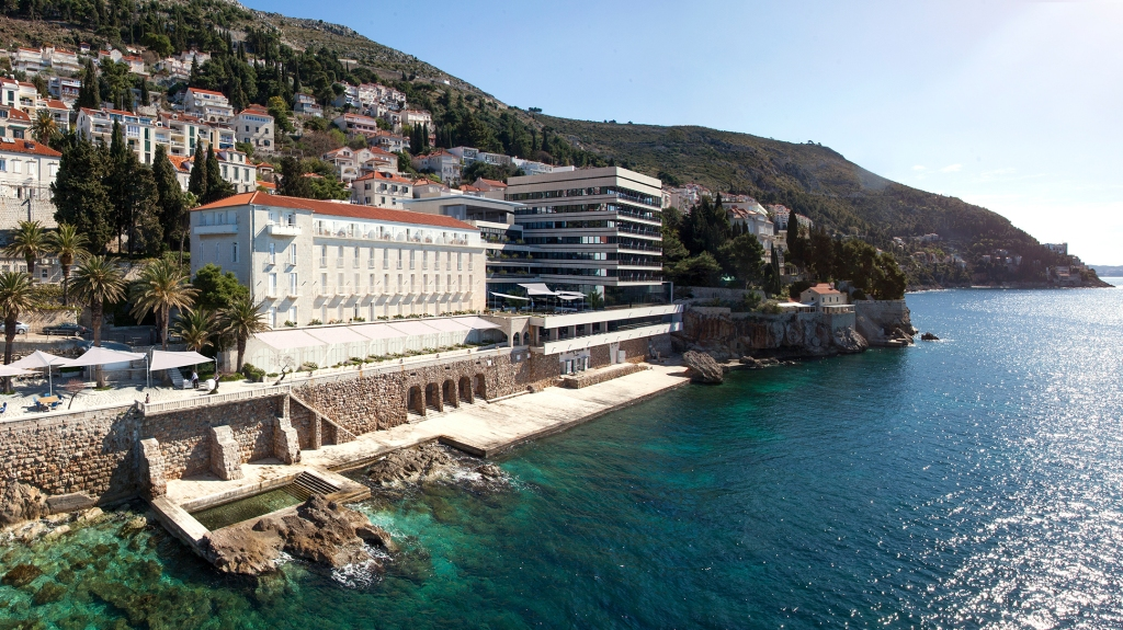 View of Hotel Excelsior on a hillside above the Adriatic Sea