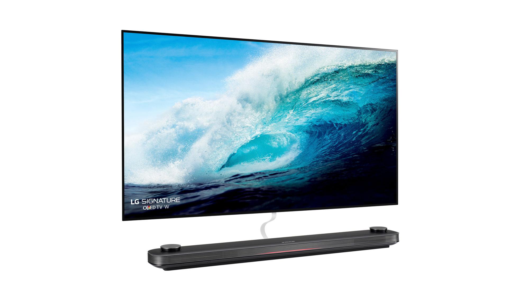 LG Signature OLED 77W7 on white with soundbar
