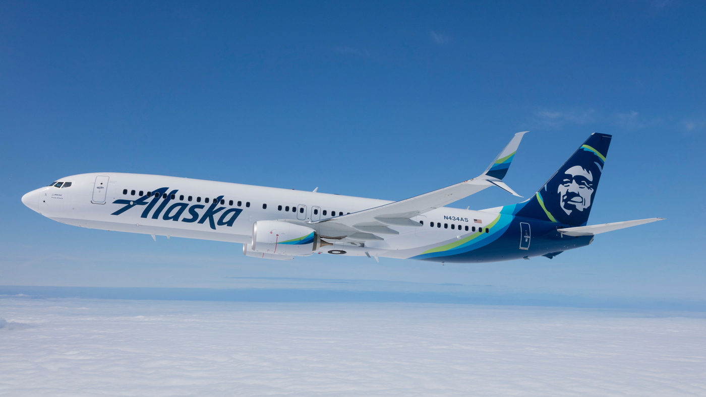 An image of an Alaska Airlines aircraft in flight.
