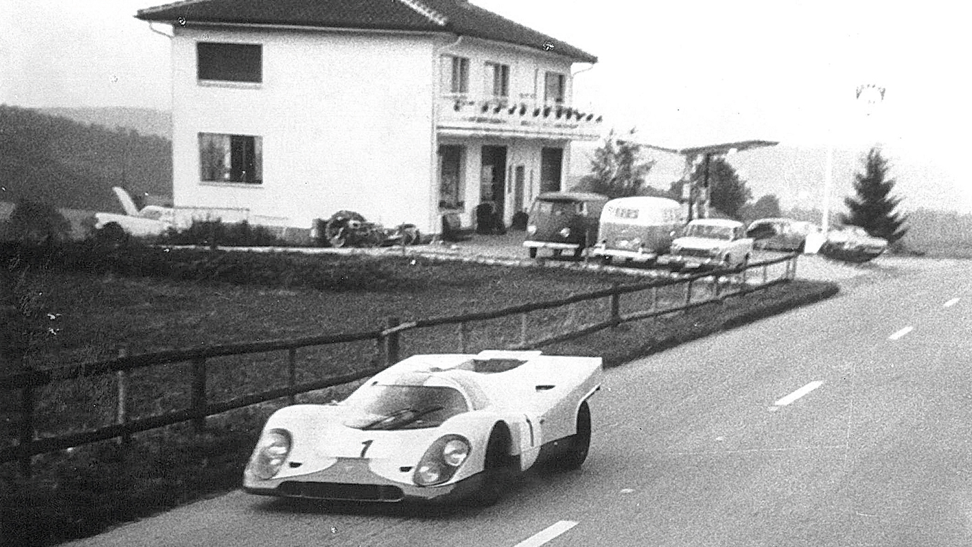 An image of Jo Siffert driving the Porsche 917K to his birthday celebration in 1971.