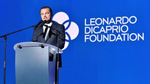 Actor Leonardo DiCaprio speaks at the Leonardo DiCaprio Foundation 4th Annual Saint-Tropez Gala