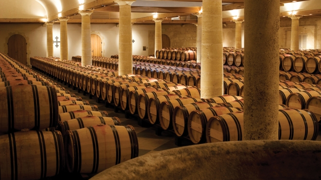 barrels of wine in the cave