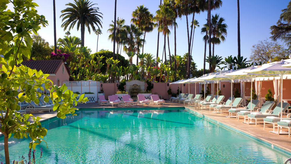 Beverly Hills Hotel pool view with palm trees