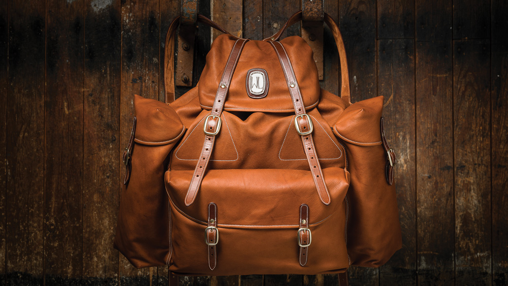 Bole leather backpack, called the King Rucksack in tan leather
