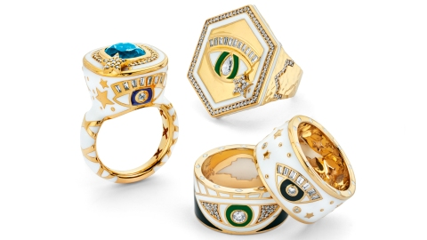 Gold and silver rings with stones