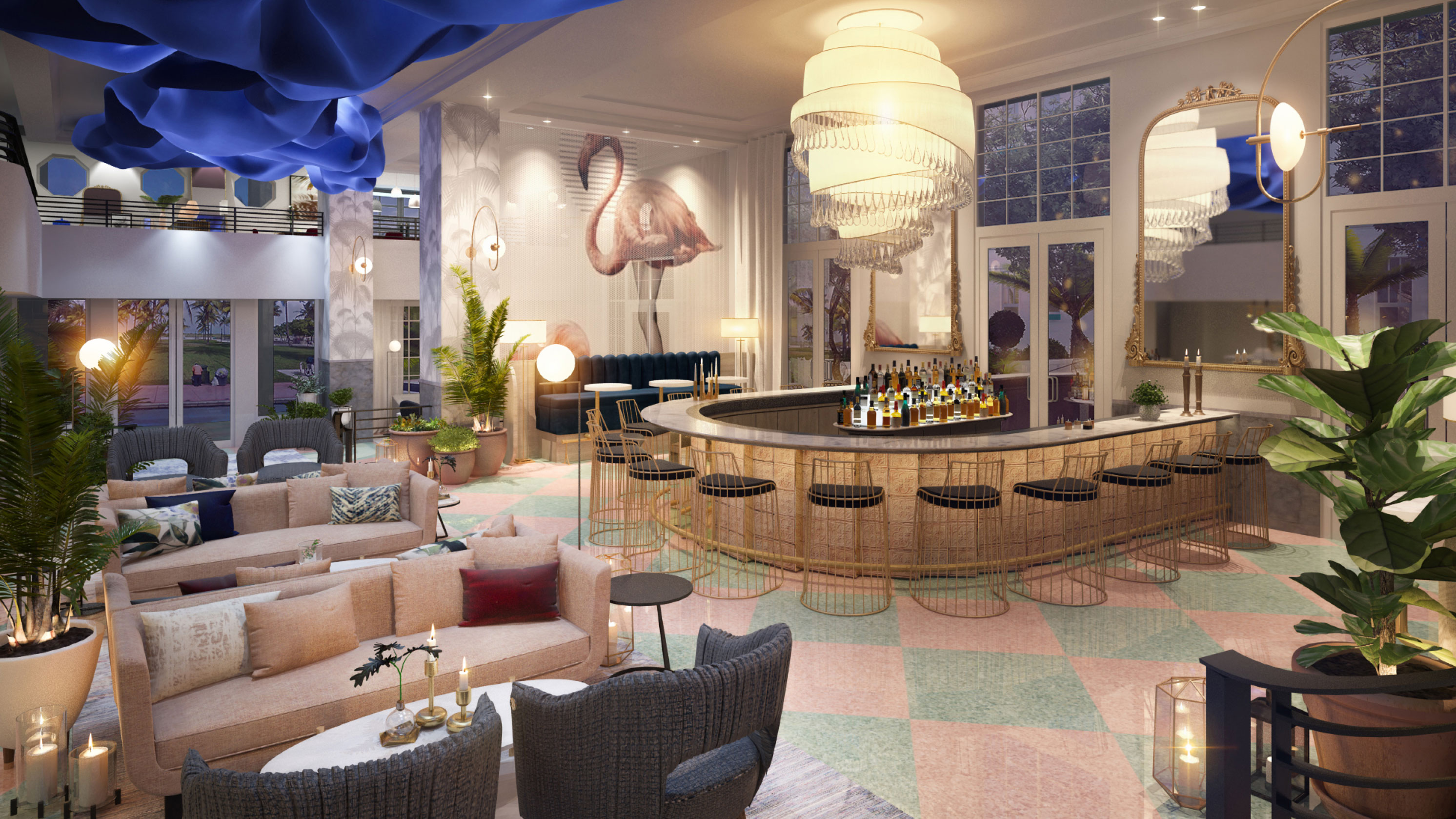The bar at the Celino South Beach with chandelier and tropical decor