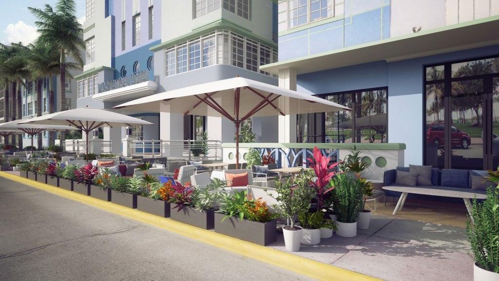 Exterior of the Celino South Beach outdoor cafe