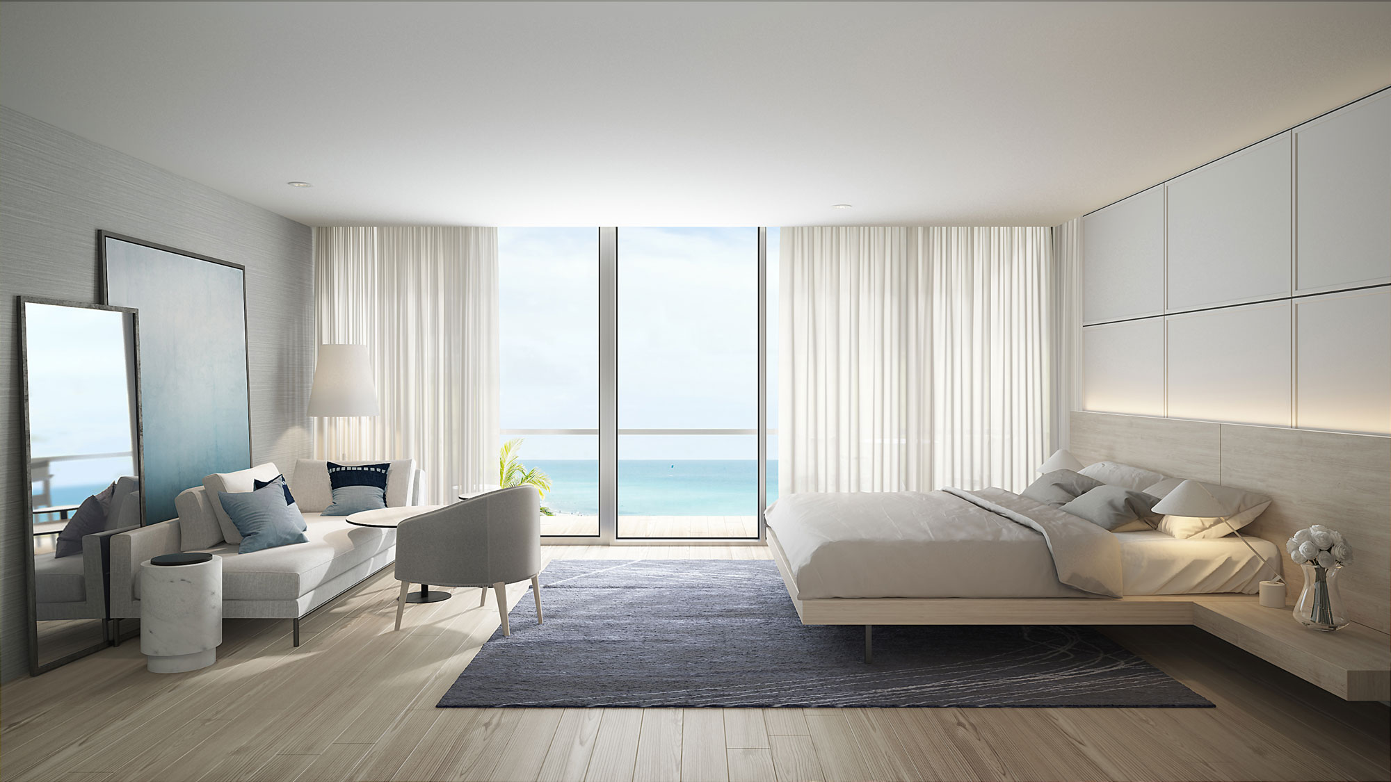 Interior of guestroom with ocean view at the Celino South Beach