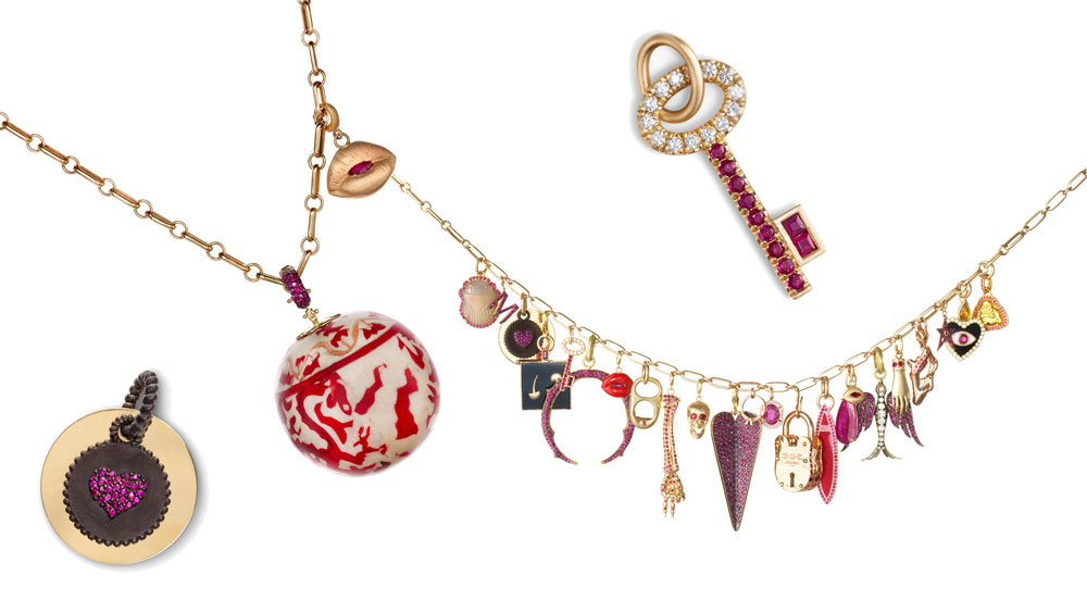 colored charms on necklaces